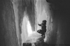 Nick behind the falls, Minnehaha Falls, Minneapolis, MN. 35mm 125PX.