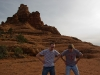 Mark and I exhausted after running up the hill at Bell Rock in Sedona.