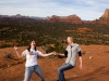 Are we dancing or falling off?  Both I guess. Bell Rock, Sedona.