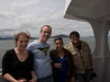 On the boat on the way to Alcatraz with a friend we made in line. Pilippa, me, Anna, Nate.