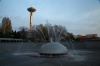 An interactive fountain with the Space Needle in the background, Seattle, WA.