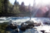 Me standing on a rick in Snoqualmie River by the falls.